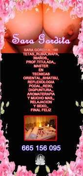 DE PASO,SARA,38 AÑOS,GORDAA,190 PECHOS,MAESTRA Y TERAPEUTA EN TECNICA ORIENTAL MASAJE EN CAMILLA,665156095,,24HRS,,SIN ENGAÑOS,,