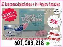 144 preserv naturales y 50 esponjas vaginales 50