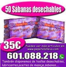 50 sabanas desechables sin ajustar 35 envase individual