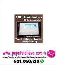 100 unid toalla 40x40 cms desechable
