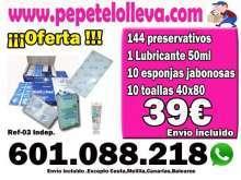 39€ 1 CAJA NATURALES O FRESA + LUBRICANTE + ESPONJAS JABON