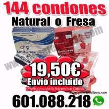 19 por 1 caja de 144 preservativos naturales o fresa uni