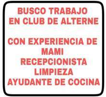 Busco trabajo en club de alterne