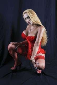 Transexual latina sexy con un pene empalmado